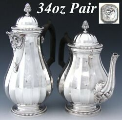 Pair Antique French Sterling Silver Coffee And Tea Pot, Classical Or Empire Style