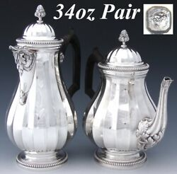 Pair Antique French Sterling Silver Coffee And Tea Pot Classical Or Empire Style