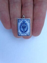 Rare 19th Century Imperial Russian Enamel Silver Postage Stamp Pendant Charm