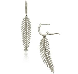 New 18ct White Gold Diamond Feather Drop Earrings. Rrp Andpound3750