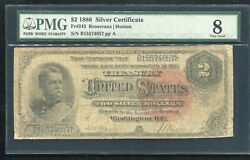 """Fr. 243 1886 2 Two Dollars """"hancock"""" Silver Certificate Currency Note Pmg Vg-8"""