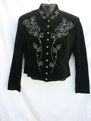 Scully Embroidered Suede Leather Women#x27;s Cropped Western Jacket XL $75.00