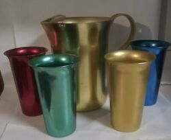 Vintage Hal-sey Fifth Ave Landm 400 Aluminum - 4 Tumblers And Rare Pitcher