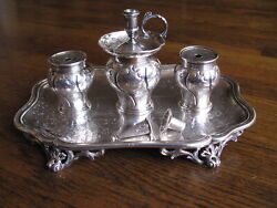 Antique Victorian English Sterling Silver Inkstand By Robert Hennell Iii