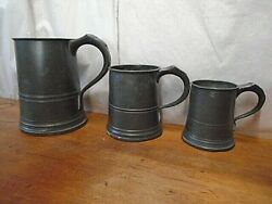 Collection Of 3 Antique Pewter Tankards By Yates And Birch Quart Pint Half Pint