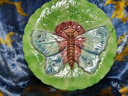 Antique Majolica, Ceramics, Butterfly Plate, Butterfly Wall Plaque,19th
