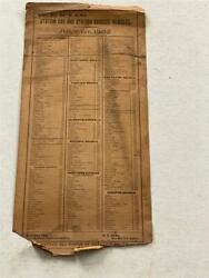 July 1 1902 W. C. R' Y Co Station Car And Station Baggage Numbers 7 X 15 Card