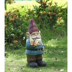Gnome Holding Butterfly Garden Yard Lawn Deck Indoor Outdoor Statue Large