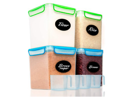 4 Large Airtight Food Storage Containers For Flour - Pantry Plastic Containers