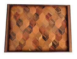 Don S. Shoemaker Inlaid Marquetry Wood Table Tray, Mid 20th Century
