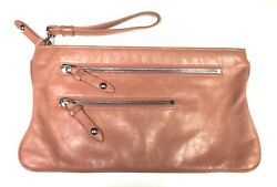 HOBO INTERNATIONAL Alameda Coral Pink Leather Clutch Purse Wristlet w Zippers $37.99