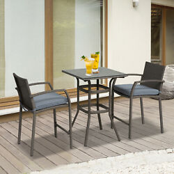 Clearance Sale Outunny 3pc Rattan Wicker Bistro Set Bar Table Stool Patio