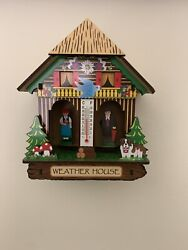 Weatherhouse German Weather House With Black Forest Couple And Thermometer
