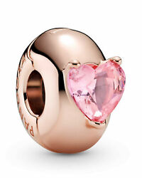 New Authentic Pandora 789203c01 Heart Solitaire Rose Clip Pink Charm