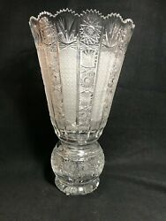 Czech Bohemian Cut Glass Large Ball Pedestal Vase In Queenand039s Lace 16 Stunning