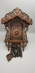 Vintage Cuckoo And Quail Cuckoo Clock Black Forest Carved Case