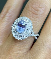 Gia Rare Natural Sapphire With Natural Diamonds 18k Beautiful Engagements Ring❤️