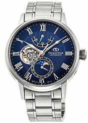 Orient Star Automatic Moon Phase Rk-ay0103l Men's Watch Open Heart Navy Silver
