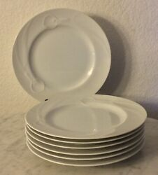 """Mikasa China """"classic Flair White"""" 7 Salad Plates. Embossed Calla Lily. Disc."""