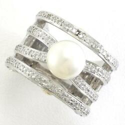Platinum 900 18k Yellow Gold Ring 11.5 Size Pearl Diamond Free Shipping Used