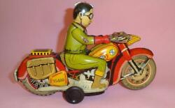 Vtg Greek Bmw 743 Tin Litho Wind Up Motorcycle By Ananias Ananiades Greece 1960s