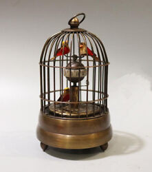 Collectible Decorated Copper Birdcage Shape Mechanical Table Clock Fl016