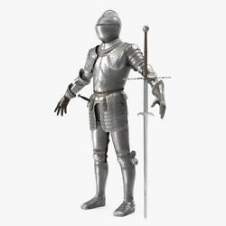 Medieval Knight Plate Armor With Zweihander T-pose Is A High Quality 18ga Steel