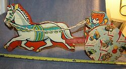 Vintage N.n. Hill Co. Wood Horse And Teddy Bear Rider Pull Toy