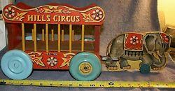 Vintage N.n.hill Co. 1956 Jumbo Elephant Wood Childs Pull Toy