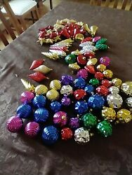 Lot 90 Plastic Christmas Tree Ornaments Pinecone Icicles Disco Balls Ribbed Bell