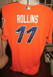 Jimmy Rollins 2005 Game Used Signed All Star Game Bp Workout Jersey Phillies Jsa