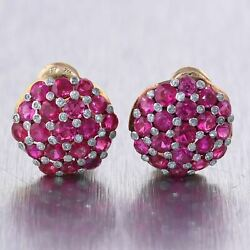 1920's Antique Art Deco 18k Yellow Gold 6.45ctw Ruby And Diamond Dome Earrings
