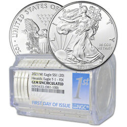 Roll Of 20 - 2021 W American Silver Eagle Ngc Gem Uncirculated First Day Issue