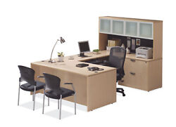U Shaped Desk With 2 Lateral File Drawers In 8 Colors And Optional Hutch Add On