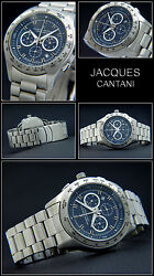 Jacques Cantani Menand039s Watch Stainless Steel Chronograph Date Jc-1010 Subtle Blue