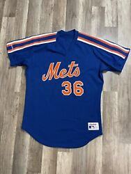 Rare Vintage New York Mets 1986 World Series Mlb Game Issued Mesh Jersey Size 42