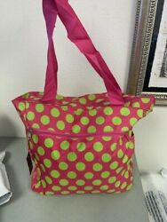 New World Traveler 13.5quot; Beach Tote Bags Pink and Green Polka Dots $9.99