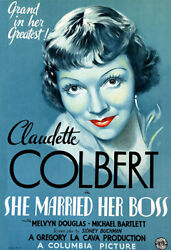Claudette Colbert She Married Her Boss Vintage Movie Poster Hand Pull Lithograph