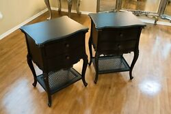 Set Of 2 - Black French Side Tables Bedside Nightstand With Rattan Shelves Holly