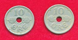 Denmark 1924 And 1925 10 Ore 2 Coins Copper-nickel