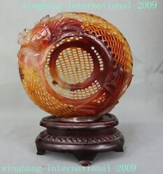 Rare Chinese 100 Natural Agate Hand Carved Wealth Crab Lucky Fish Basket Statue