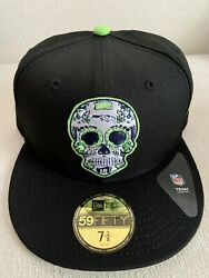 Seattle Seahawks New Era 59fifty 5950 Sugar Skull Day Of The Dead Hat 7 3/8 New