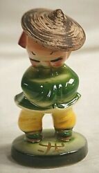 Whimsical Vntage Chinese Asian Figurine Ceramic Straw Hat Green Yellow Shelf Mcm