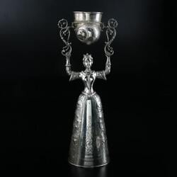 Rare And Early Large German 800 Silver Wedding Wager Cup With Shell Motif