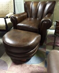 Thomasville Furniture Hemingway Martini Cigar Leather Chair And Ottoman