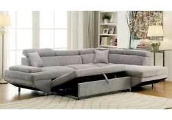 Grey Flannelette Fabric Couch Sectional Sofa W Sleeper Pull Out Bed Cushion Sofa