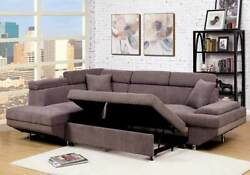 Brown Flannelette Fabric Couch Sectional Sofa W Sleeper Pull Outbed Cushion Sofa