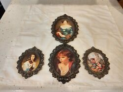 Vintage Metal Italian Framed Oval Pictures Set Of 4 Hanging Wall Victorian