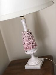 Capodimonte Lamp With Pink Flowers