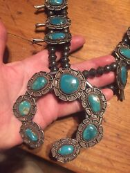 Old Pawn Navajo Sterlingsilver Squash Blossom Blue Green Turquoise Necklace